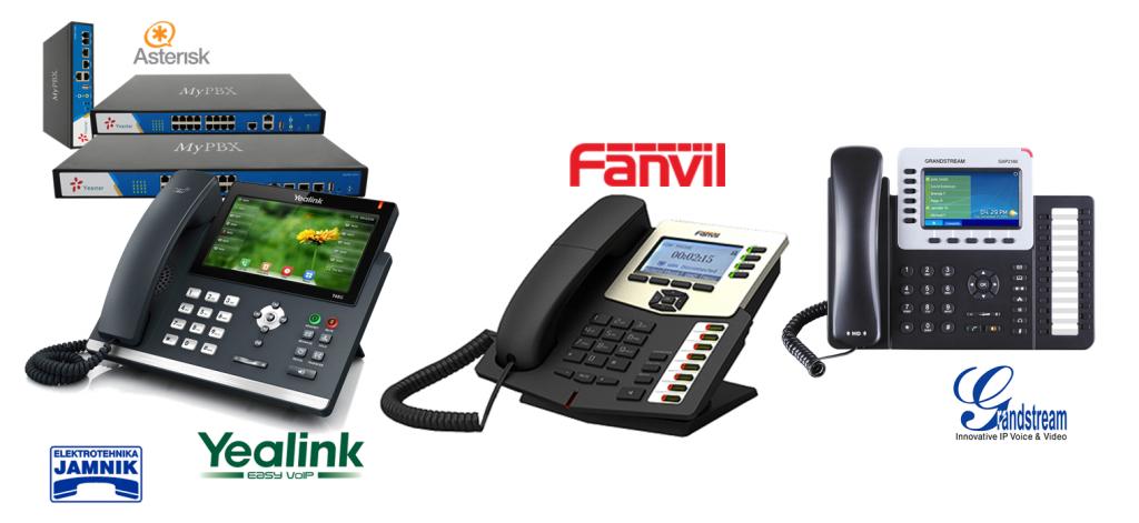 Izdelki glavnih proizvajalcev-IP telefonski aparati Yealink, Fanvil in Grandstream.Fanvil X serija