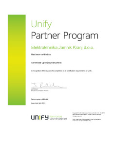 Unify Partner Program Certificate 2016