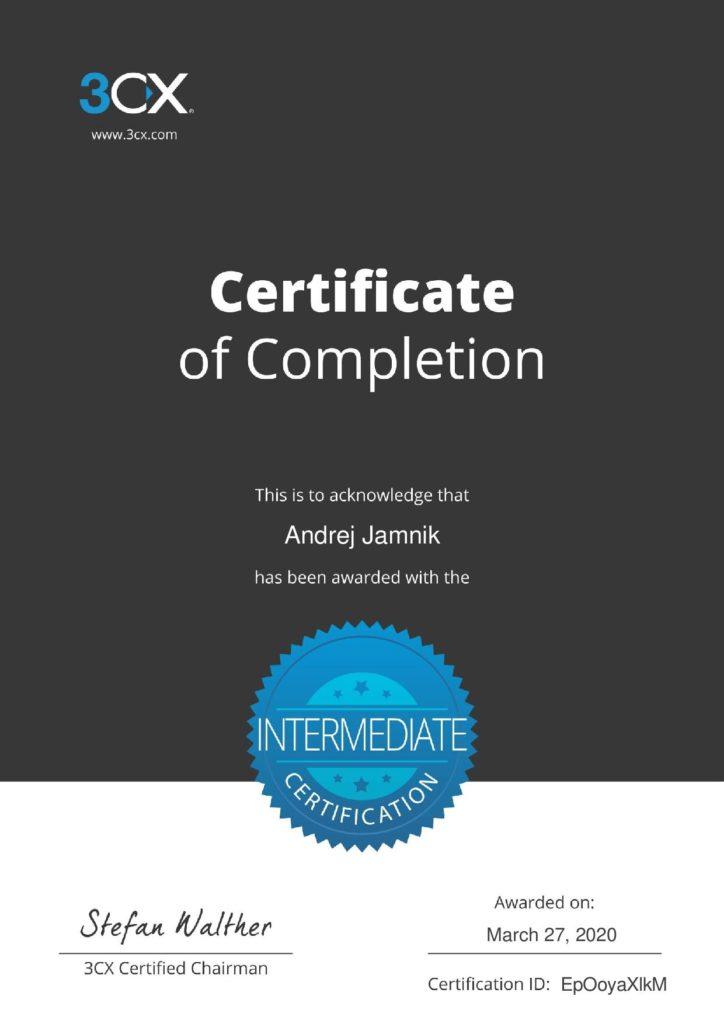 3CX intermediate certifikat
