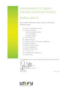 Unify certifikat-implementacija in tehnična podpora za Openscape business