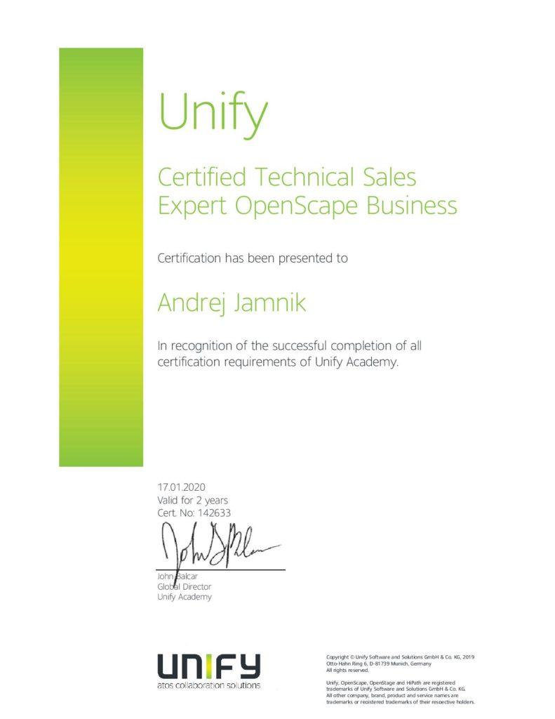 Unify certifikat-tehnični prodajni specialist za openscape business