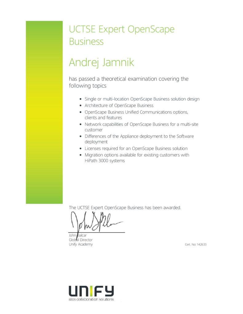 Unify certifikat UCTSE specialist openscape Business